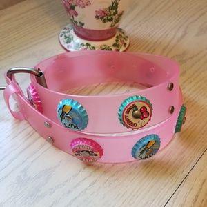 Accessories - Pink Jelly Bottle Cap Belt, Soda Pop Caps, Small